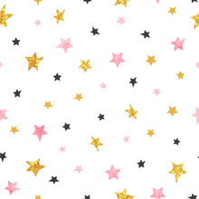 Stars Pattern. Vector Seamless Background With Watercolor Pink And Glittering Golden Stars.