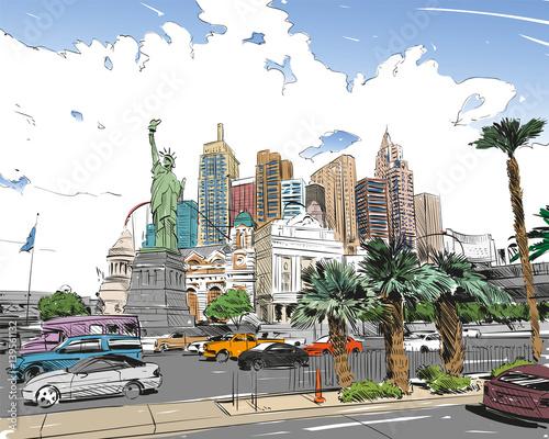 Zdjęcie XXL Las Vegas miasta ręcznie rysowane. Stany Zjednoczone Ameryki. Nevada. Uliczny nakreślenie, wektorowa ilustracja