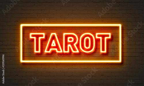 Tarot neon sign on brick wall background. Wallpaper Mural