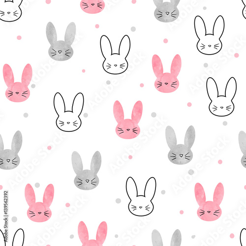 Cute bunny pattern Canvas Print