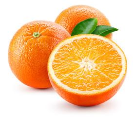 Orange fruit with leaves isolated on white background.