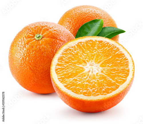 Orange fruit with leaves isolated on white background.