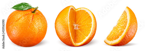 Orange fruit with leaf isolated on white background. Collection.
