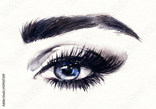 Door stickers Watercolor Face Eyes. Woman face. Fashion illustration. Watercolor painting