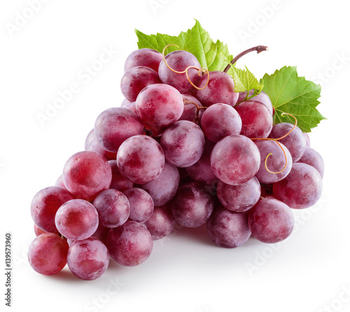 Ripe red grape. Pink bunch with leaves isolated on white. With clipping path. Full depth of field.
