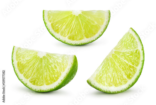 Lime. Fresh fruit isolated on white background. Slice, piece, quarter; part, segment, section. Collection.