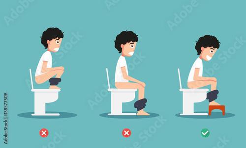 Fotografía  unhealthy vs healthy positions for defecate illustration