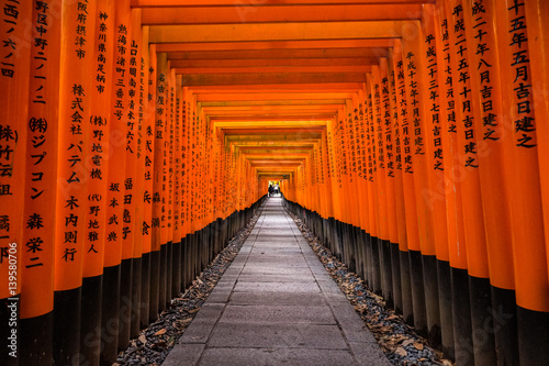 Fushimi Inari Shrine in Kyoto, Japan.It is famous for its thousands of vermilion torii gates.