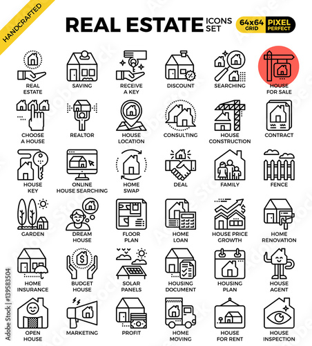 Real estate line icon set Canvas Print