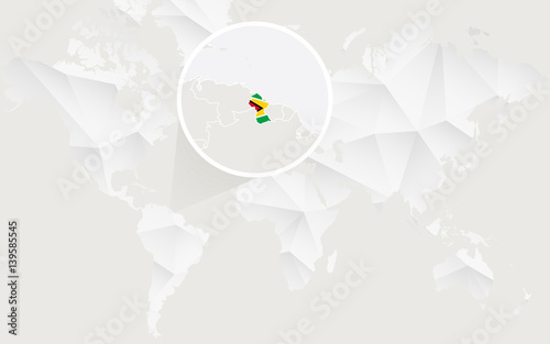 Guyana Map With Flag In Contour On White Polygonal World Map Buy