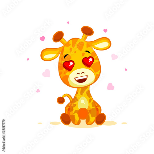 Photo  Emoji hello hi in love hearts you are cute character cartoon Giraffe sticker emo