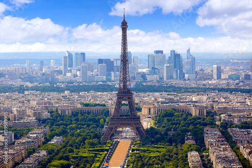 Paris Eiffel tower and skyline aerial France