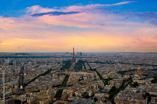 Eiffel Tower in Paris aerial sunset France Wallpaper Mural