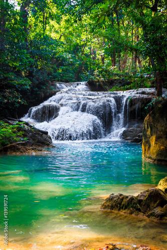 Waterfall.  Beautiful view of waterfall landscape - 139591724