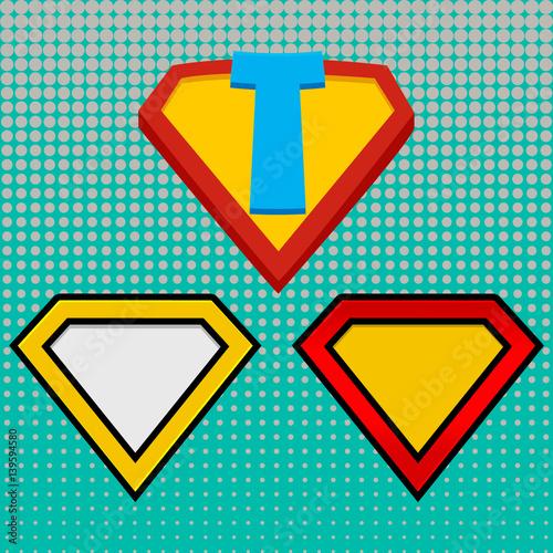 superhero logo template red yellow and orange halftone dots
