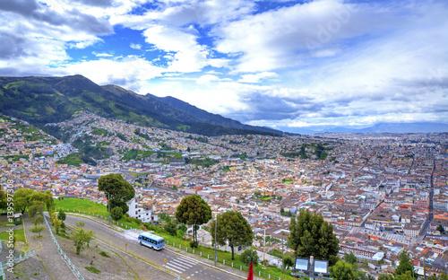 In de dag Rio de Janeiro High view of the city of Quito, Ecuador, from the Panecillo hill, on a cloudy morning.