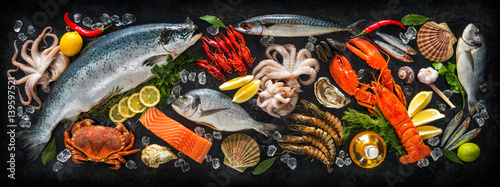 Fototapeta  Fresh fish and seafood