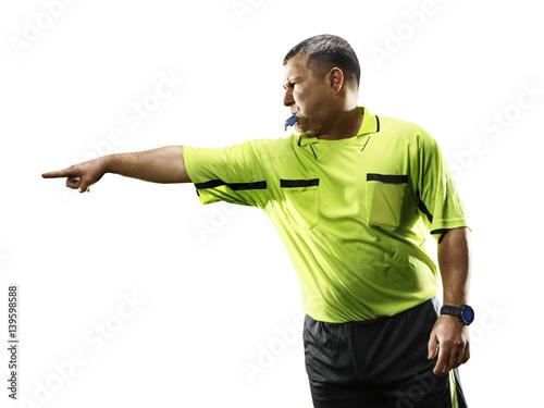 Professional soccer referee isolated on white background Billede på lærred