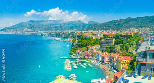 Aerial view of Sorrento city, amalfi coast, Italy