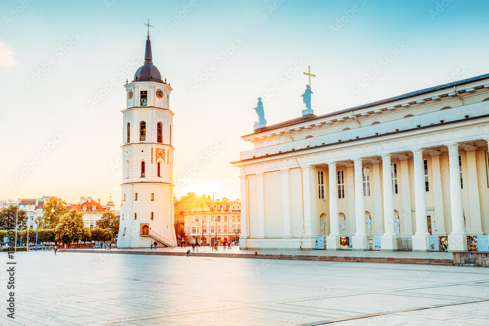 Fototapety, obrazy: Vilnius Lithuania. Cathedral Square With Bell Tower, Cathedral B