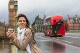 Fototapeta Londyn - Woman Drinking Coffee on Westminster Bridge, Big Ben, London, England