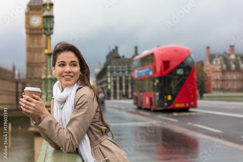 Foto op Canvas Londen rode bus Woman Drinking Coffee on Westminster Bridge, Big Ben, London, England