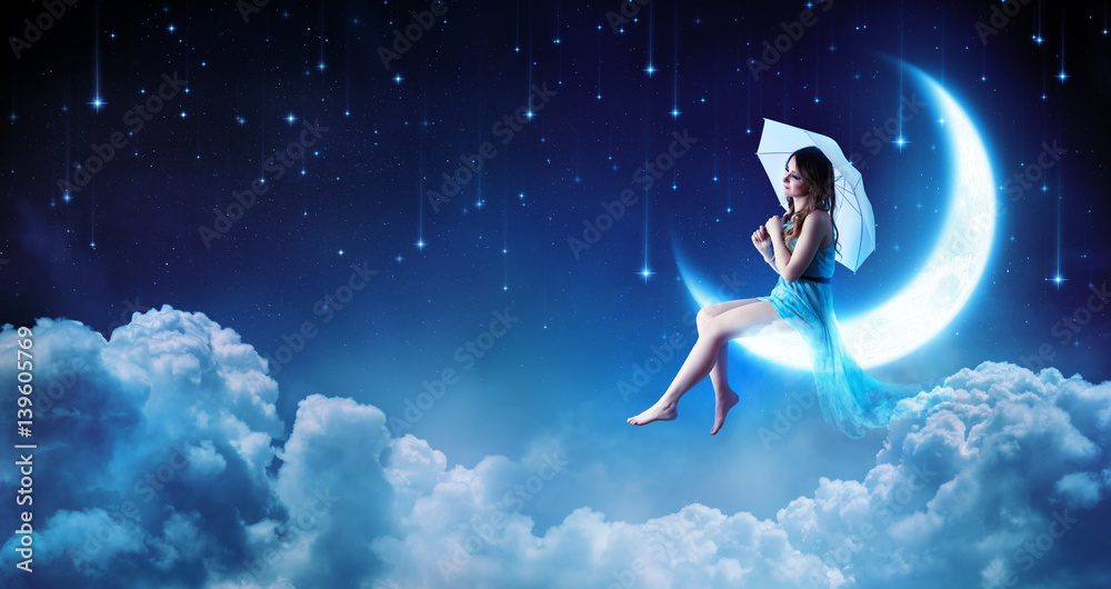 Fototapety, obrazy: Dreaming In The Fantasy Night - Fashion Girl Sitting On Moon