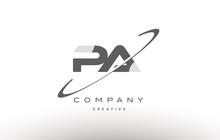 Pa P A  Swoosh Grey Alphabet Letter Logo