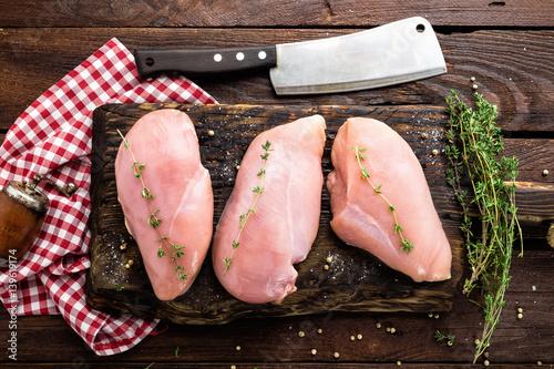 Keuken foto achterwand Kip Raw chicken meat fillet on wooden background top view