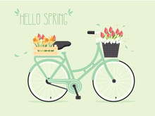 Retro Bicycle With Spring Flowers In Basket.