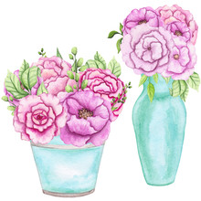 Set Of Watercolor Bouquets In Blue Vases