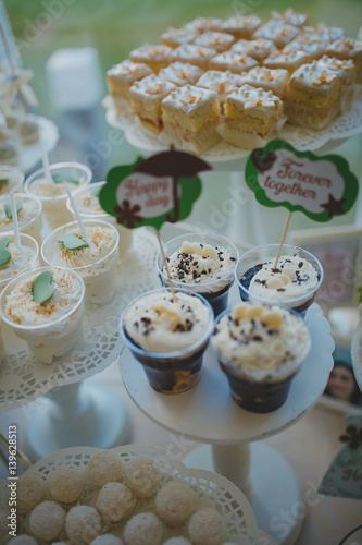 Poster Dairy products Beautiful sweets on buffet table with decorations