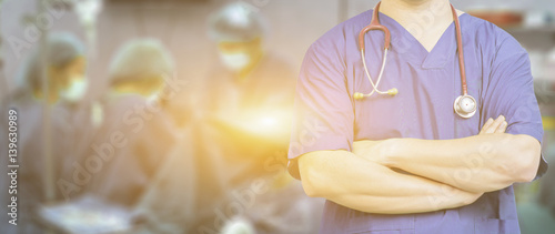 Recess Fitting Buddha Medical ,Doctor surgeon posing with arms crossed in an operating theatre,surgical room,doctor with operating room,healthcare and medical concept,stethoscope,medical,healtcare ,background banner