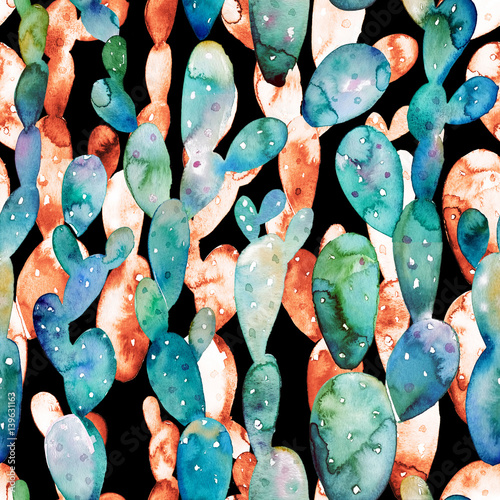 Watercolor cactus seamless pattern. Tropical succulent garden illustration