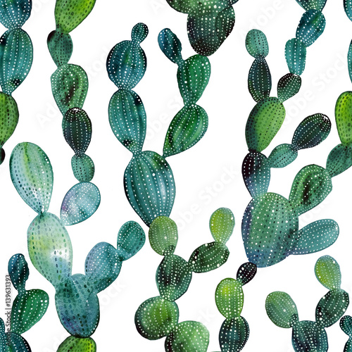 Watercolor cactus tropical garden seamless pattern. Watercolour cactus