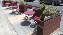 Cute And Relaxing San Francisco City Sidewalk Parklet Eliminates Precious Street Parking Spaces.