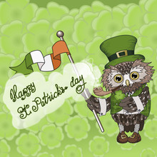 St Patrick's Day Owl Patrick Smoking Pipe And Holding Clover Symbol And Irish Flag, Wearing A Green Traditional Outfit With National Pattern, Tiled Background With Four-leaf Lucky Clover
