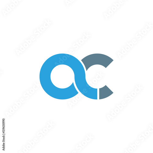 Initial letter ac modern linked circle round lowercase logo blue gray Canvas Print