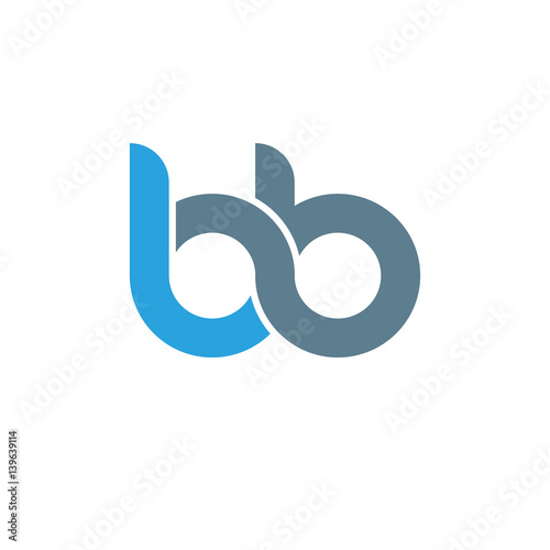 Photo Initial letter bb modern linked circle round lowercase logo blue gray