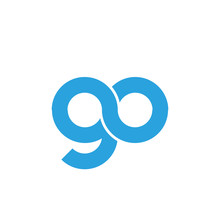 Initial Letter Go Modern Linked Circle Round Lowercase Logo Blue