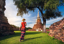 Tourist Near Ancient Temple In...