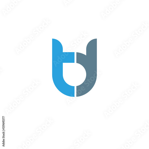 Initial Letter Td Modern Linked Circle Round Lowercase Logo Blue
