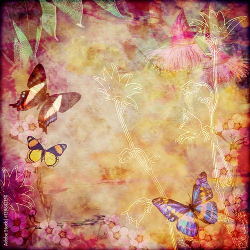 vintage-tle-kwiatow-z-australijskich-motyli-kolorowe-plotno-wieku-teksturowanej-tlo-skopiuj-miejsce-na-tekst