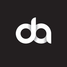 Initial Lowercase Letter Da, Linked Circle Rounded Logo With Shadow Gradient, White Color On Black Background