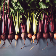 Mix Of Red And Gold Beets On G...