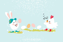 Cute Bunny.Chick Singing. Egg ...