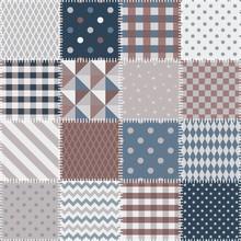 Quilting Design Background. Seamless Patchwork Pattern. Vector Illustration.
