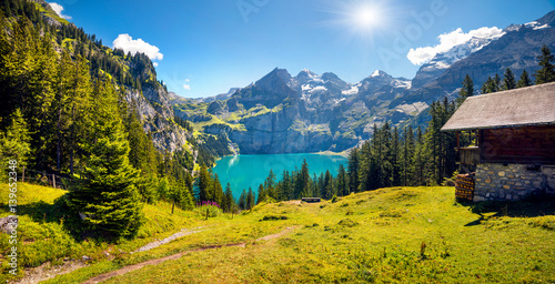 Garden Poster Road in forest Colorful summer morning on unique lake - Oeschinen (Oeschinensee)