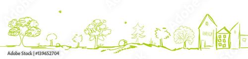Poster Blanc Landschaft Dorf Stadt Panorama Grün Band Banner Hintergrund Wald Wälder