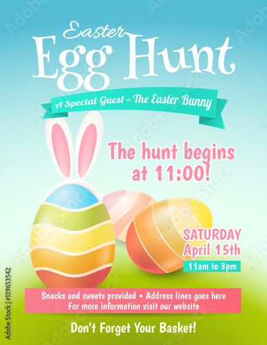 Foto  Cute poster for Easter Egg Hunt  with colored eggs and ears of a rabbit